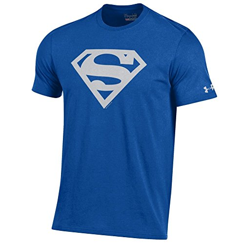 Under Armour Men's Alter Ego Superman Charged Cotton Performance T-Shirt-Royal with Grey Shield -Small