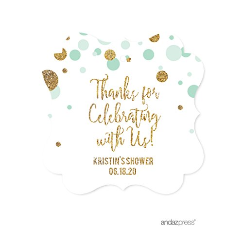 Fancy Favor Box (Andaz Press Mint Green Gold Glitter Boy Baby Shower Party Collection, Personalized Fancy Frame Gift Tags, Thank You for Celebrating With Us, 24-Pack, Custom Name)