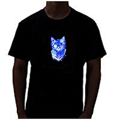 Rave Raptor Sound Cat LED Shirt Light Up T-shirt (Medium) (T Shirt Light Up)