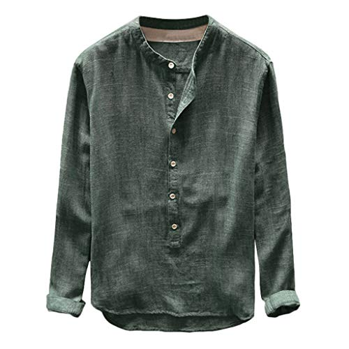 Linen Shirt Men Casual Solid Color Loose Button Cotton Casual Spring Top