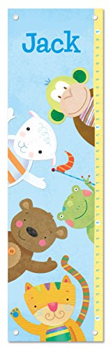 Personalized Custom Name Keepsake Growth Chart Height Ruler for Boys Kids Room Wall Hanging Canvas Children's Baby Nursery Décor, Zoo Animals Monkey Bear Tiger | I See Me! by I See Me!