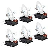 Sunco Lighting 6 Pack 4 Inch Slim LED Downlight with Junction Box,10W=60W, 650 LM, Dimmable, 5000K Daylight, Recessed Jbox Fixture, Simple Retrofit Installation - ETL & Energy Star