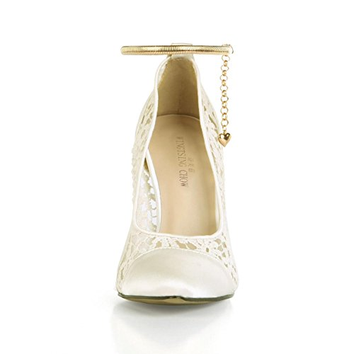 Sandals Toe 12cm Beige Net Pumps Sole Lace Heels Chain Best Women's Comfortable Wedding Pointed 4u Shoes Faux Silk Rubber High Basic Ankle Summer tOO8x7wqB