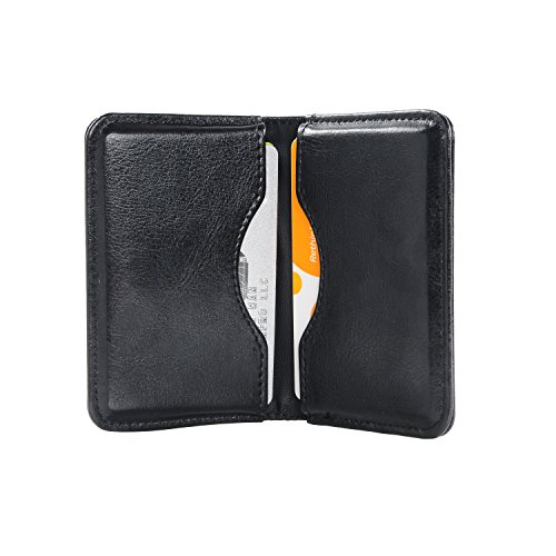 Leather Business Card Holder (Business Card Holder, Wisdompro 2-Sided PU Leather Folio Professional Name Card Holder Wallet Case / Organizer with Magnetic Shut for Men and Women, Ultra Slim and Thin - Black)