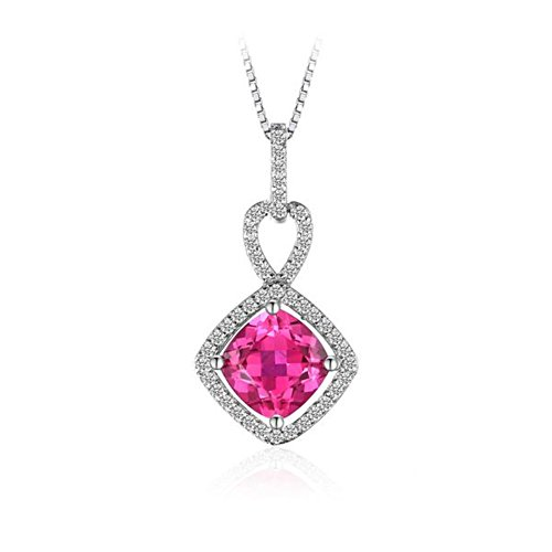 (VERA NOVA JEWELRY Tres Chic 2.2ct Square Synthetic Pink Sapphire 925 Sterling Silver Pendant Necklace)