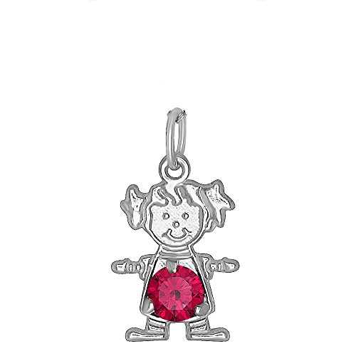 DTLA Sterling Silver CZ Simulated Birthstone Girl Charm Pendant for Baby and Children - July