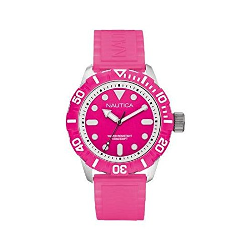 Nautica Unisex Nsr 100 Watch A09607G with Pink Dial and Pink Silicone Strap