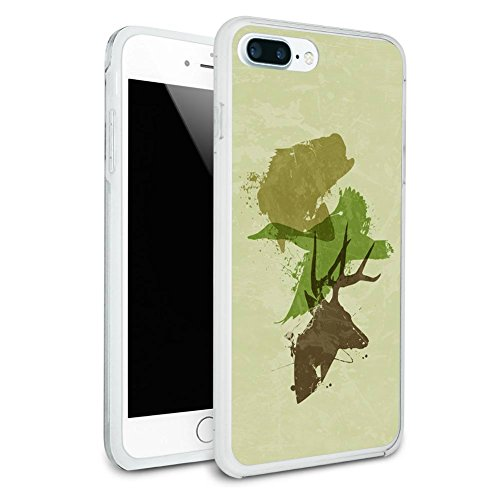 Hunting Fishing Collage Design - Hunter Deer Duck Bass Trout Camouflage Protective Slim Hybrid Rubber Bumper Case for Apple iPhone 7 or iPhone 7+ Plus - iPhone 7 Plus (fits larger Plus model only) ()
