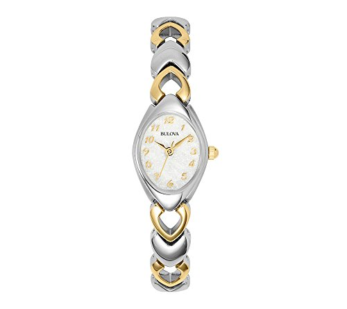 Dress Gold Dial Tone Watch (Bulova 98V02 Two Tone Stainless Steel Dress White Dial Women's Watch)