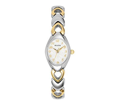 - Bulova 98V02 Two Tone Stainless Steel Dress White Dial Women's Watch