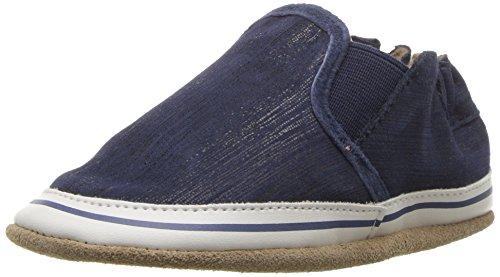 Robeez Kids Crosshatch Crib Shoe Leather Liam Basic - Indigo 6-12 Months M US Infant