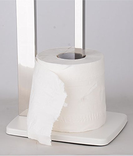 LUANT Stainless Steel Toilet Paper Stand with Reserve White//Square Tube