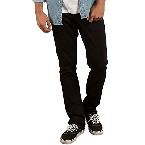 Volcom Men's Vorta Slim Fit Stretch Denim Jean, Black On Black, 32X30 (Volcom Slim Jeans)