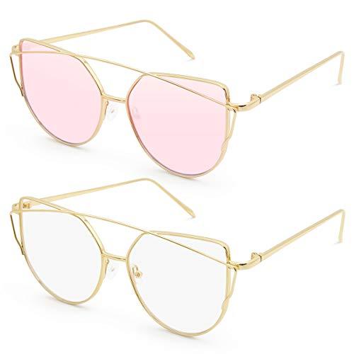 Livhò Sunglasses for Women, 2 Pack Cat Eye Mirrored + Transparent Flat Lenses Metal Frame Sunglasses UV400 (Gold Pink + Gold White)