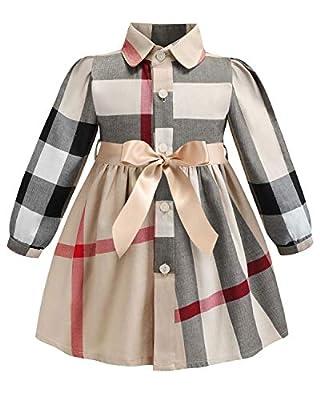 ZANDZ Little Girls Cotton Sleeveless Button Pocket Plaid Casual Summer Dress(A-Beige,4T-5T)