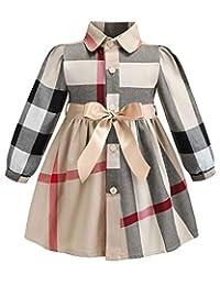 ZANDZ Little Girls Cotton Sleeveless Button Pocket Plaid Casual Summer Dress