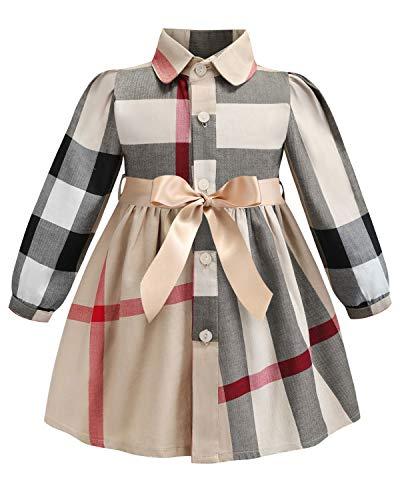 ZANDZ Little Girls Cotton Sleeveless Button Pocket Plaid Casual Summer -