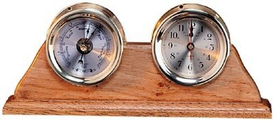 Brass Quartz Clock & Barometer Weather Station by HS