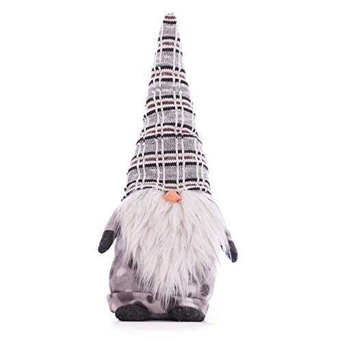Voberry Handmade Swedish Tomte Christmas Gnome - Santa Cloth Doll - Christmas Ornaments Gifts Holiday Home Table Decor - Gnome Plush Birthday Present 14.1 inch (Gray)