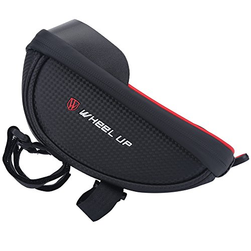 (Naroote Bicycle Frame Bag, Waterproof Tube Handlebar Bags Outdoor Phone Holder Pouch Cycling Bike Front Basket 2 Colors (Black+Red))