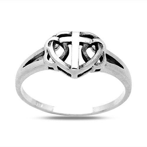 925 Sterling Silver Ring Small Plain Double Open Heart and Cross Split Shank Design (Ring Shank Open)