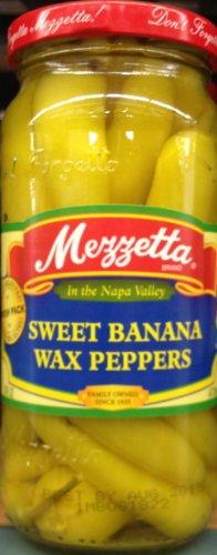 Mezzetta Sweet Banana Wax Peppers 16 Ounce ( 2 - 16 Ounce Jars)