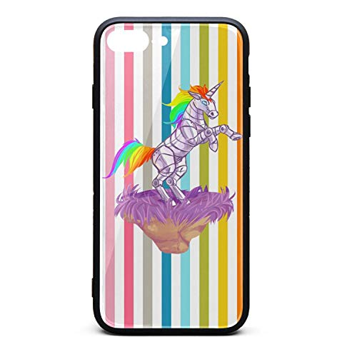 Phonerebey 7 Plus/8 Plus Case,Rainbow Robot Unicorn Art Anti-Scratch Shockproof Slim Cover Case Compatible with Apple 7 Plus/8 Plus Case,TPU and Tempered Glass