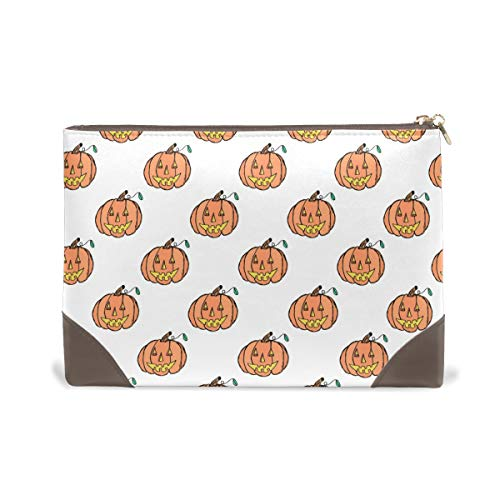 IMOBABY Womens Pump Kin Pattern Leather Makeup Bag Cosmetic Tote Bags Carry Case Organizer Toiletry Bag