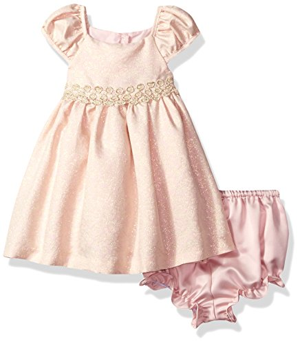 Laura Ashley London Baby Girls Puff Sleeve Party Dress, Pink/Gold Brocade, 24M - Pink Brocade Dress