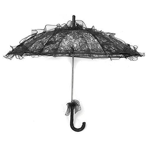 umbrella - TOOGOO(R)Lace Parasol Wedding Lace Flower Wedding Bride Parasol Umbrella Black -
