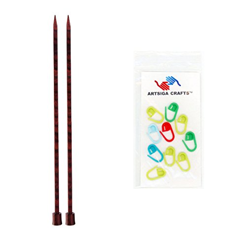 Knitter's Pride Cubics Single Point 14-inch (35cm) Knitting Needles; Size US 9 (5.5mm) Bundle with 10 Artsiga Crafts Stitch Markers 300335
