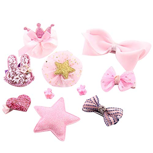 Dsood Large Hair Claw Clamps,10Pcs Kids Infant Hairpin Baby Girl Cartoon Animal Motifs Hair Clip Set,Hair Styling Pins