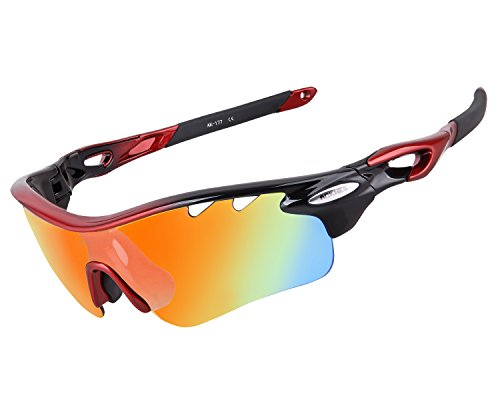 Affordable Revo Sunglasses (AOKNES Polarized Sports Sunglasses With 5 Interchangeable Lenes for Men Women Cycling Running Driving Fishing Golf Baseball Glasses (Black Red&Rainbow lens))