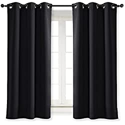 NICETOWN Black Out Curtain Panel Shade Black Solid Energy Efficient Eyelet Top Window Blind for Guest Room (Single Piece, 42 inch Wide by 63 inch Long, Black)