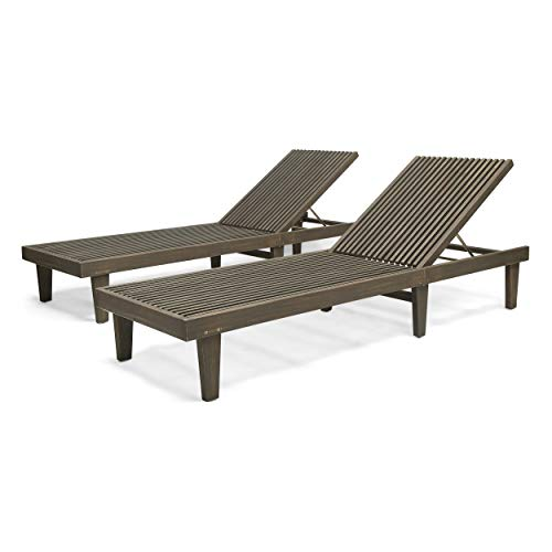 - Addisyn Outdoor Wooden Chaise Lounge (Set of 2), Gray Finish