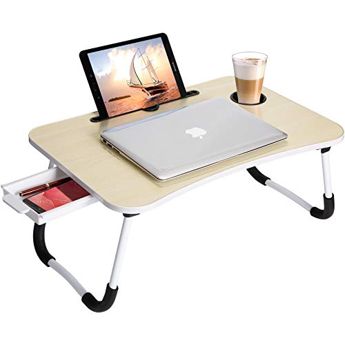 Lap Desk : Bed Desk for Laptop - Laptop Lap Desk with Storage Drawer, Bed Table for Eating and Writing and Laptop (Beige)