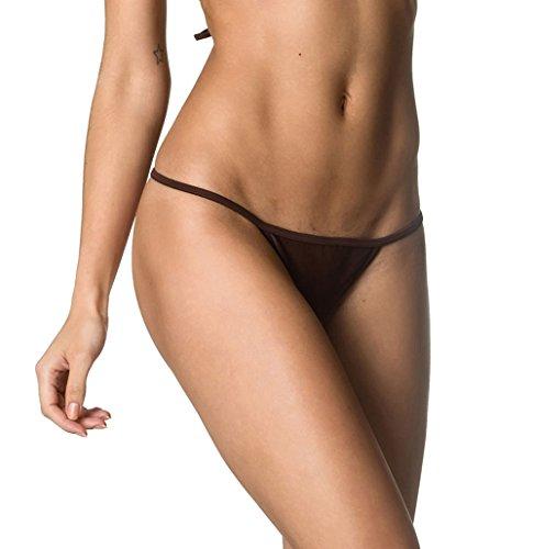THE MESH KING Coqueta Brazilian Teeny Itsy Bitsy Micro Thong Mini Bikini Swimsuit G String Brown-MD ()