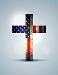 Wallmonkeys WM368684 Christian Cross and American Flag Illustration Peel and Stick Wall Decals (18 in H x 14 in W)