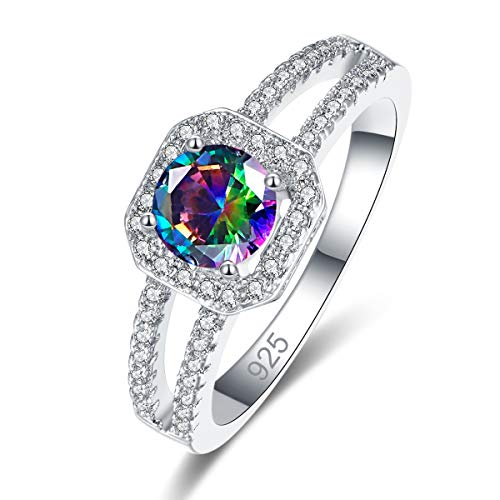 PAKULA Silver Plated Women Simulated Rainbow Topaz Ring