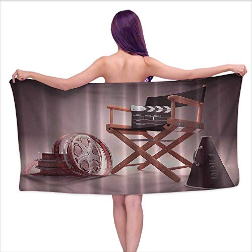 Glifporia Bath Towels Prime Directors Chair Seat Movie Lover Film Set Studios Strip Ribbon Storyboard Render Art Digital Print Aubergine Purple Brown,W20 xL39 for Youth Girls Cotton ()