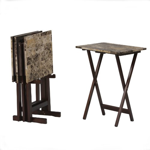 Linon Home Decor Tray Table Set, Faux Marble, Brown (Foldable Table Set)