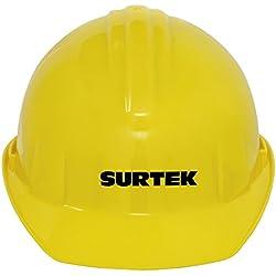Surtek 137308 Casco de Seguridad con Ajuste de Matraca, color Amarillo