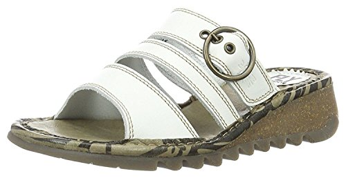 Fly London Thea724Fly Off Blanc Femmes Cuir Wedge Sandales