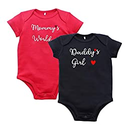 Kadambaby Premium 100% Cotton Set of 2 Onesies Bodysuit Romper for Baby Boy, Baby Girl and Newborns(0-3 Months,Black Red…