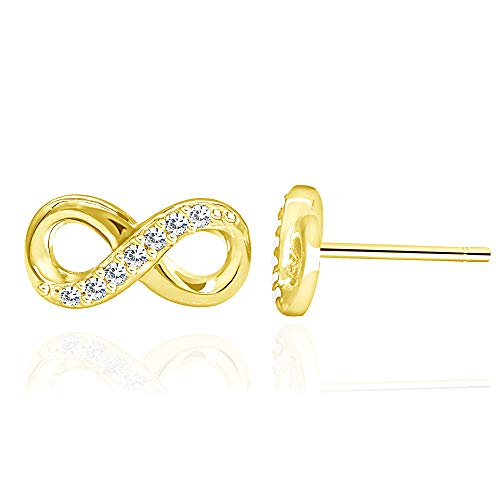 14k Yellow Gold Plated 925 Sterling Silver Cubic Zirconia Half Set Infinity Stud Earrings -