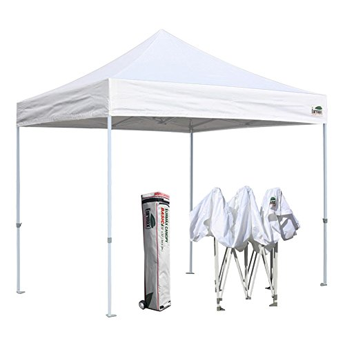 Commercial Shelter - Eurmax 10'x10' Ez Pop Up Canopy Tent Commercial Shelter with Heavy Duty Roller Bag (White)