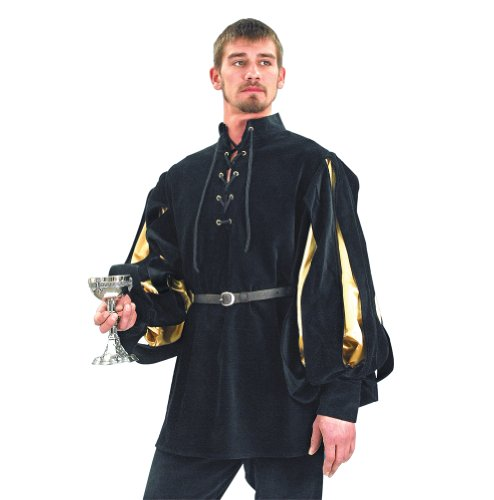 [Cavalier Black Velvet Renaissance Shirt - Black/Gold - S/M (Period Clothing)] (Medieval Shirt Adult Costumes)