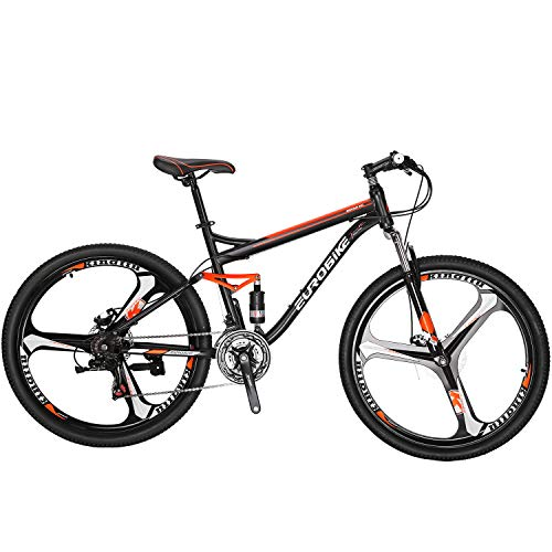 Eurobike Full Suspension Mountain Bike 21 Speed Bicycle 27.5 inches Mens MTB Disc Brakes Orange (3 Spoke mag Wheels)