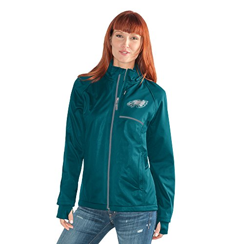 NFL Philadelphia Eagles Adult Women Cut Back Soft Shell Jacket, Medium, Green