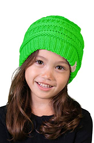 Green Cap Cloth (H-3847-87 Kids Beanie (NO POM) - Neon Lime)
